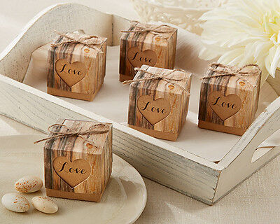 Rustic Hearts Love Eco Wood Forest Woodland Bridal Wedding Favor Boxes