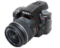 Sony A33 DSLR camera with 3 lenses, case and accessories