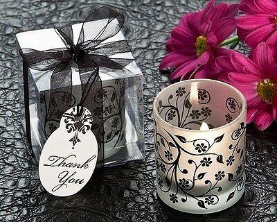 96 Frosted Black & White Floral Votive Tea Light Candle Holder Wedding Favor Frosted Votive Candle Favors