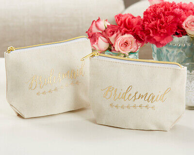 Gold Foil Bridesmaid Canvas Makeup Cosmetic Bag with Zipper Wedding Gift MW35633 - Bridesmaid Gift Bags