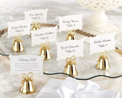 120 Gold Kissing Bell Wedding Place Card Holder Favor, Table Decor w/ Heart Bow