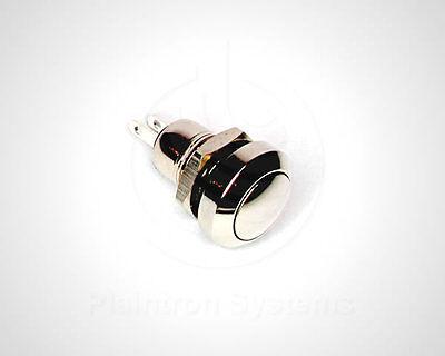 Mini-Taster, Schalter (Drucktaster) 1 Schließer Chrom 10/8mm rund, Klingel, Hupe