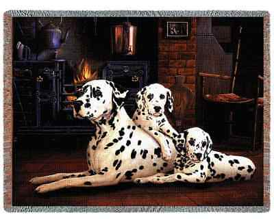 DALMATIAN DOG TAPESTRY AFGHAN THROW BLANKET 70x53