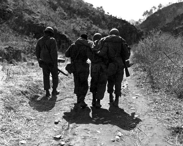 New 8x10 Korean War Photo: Wounded of 24th Infantry after Battle Near Chorwon