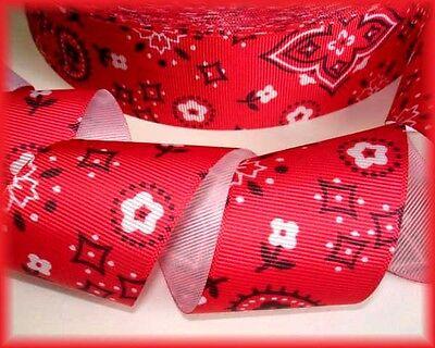 1.5 RED BANDANA COWGIRL COWBOY WESTERN PATRIOTIC GROSGRAIN RIBBON 4 HAIRBOW BOW - Cowboy Red Bandana
