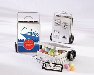 12 Miles of Memories Personalized Suitcase Favor Tins Destination Wedding Favors - Favor Tins