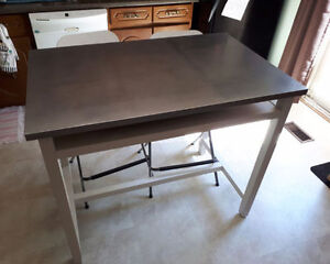 Belmont White Stainless steel top Work Table + 6 bar chairs