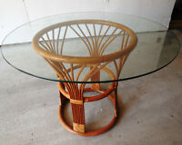 Rattan Dining Table with Glass Top