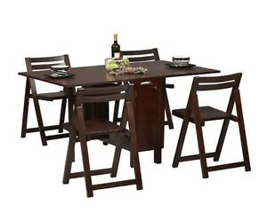 about wenge espresso space saver folding dining table and 4 chairs set
