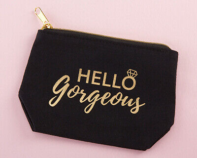 Hello Gorgeous Bridesmaid Black Canvas Makeup Bag Zipper Wedding Gift MW35630 - Bridesmaid Gift Bags