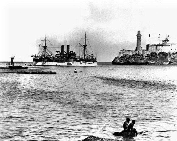 New 8x10 Spanish-American War Photo: USS MAINE Entering Havana Harbor, 1898