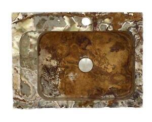 22 x 16 Golden Silk Onyx Vessel Sink