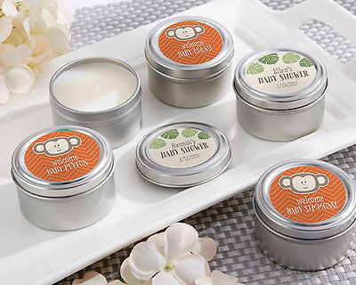 24 Personalized Born To Be Wild Round Candle Tins Baby Shower -
