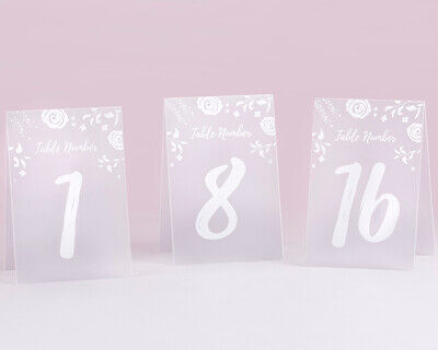 Table Number Cards (White Frosted Floral Table Numbers Cards Wedding Party Reception 1-18)