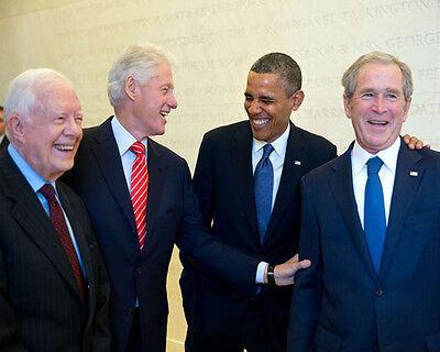 PRESIDENT BARACK OBAMA WITH PRESIDENTS CARTER, CLINTON, & BUSH 8X10 PHOTO