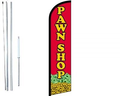 Pawn Shop Windless Swooper Flag With Complete Hybrid Pole Set