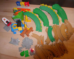 Large lot of Fisher Price Geotrax train tracks, buildings, train