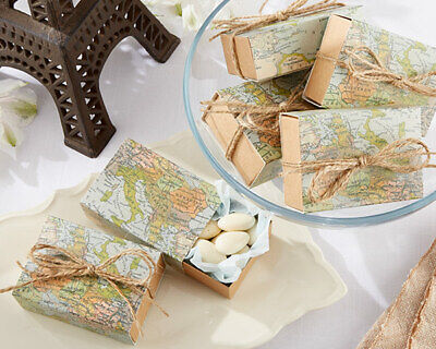 24 World Map Candy Boxes Travel Theme Wedding or Shower Party Favors MW30719 - Travel Party Favors