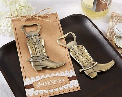 48 Just Hitched Cowboy Boot Bottle Opener Bridal Shower Wedding - Cowboy Boot Wedding Favors