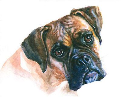 artav Fawn Boxer Dog Pet Art Print From Watercolor