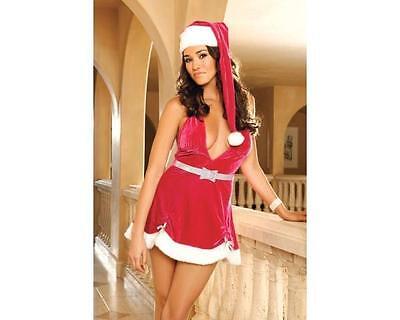 Hot Pink Mrs Claus Velvet Halter Holiday Dress Christmas Lingerie Costume M - Hot Mrs Claus Costume