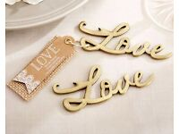 100 x Hand-scripted 'Love' Antique Gold Bottle Openers - Wedding Favours