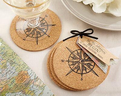 Wedding Favor Coasters (Let The Journey Begin Compass Coasters Travel Wedding Favor 50 96 125)