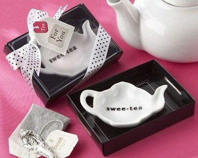 25 Swee-Tea Ceramic Tea Bag Caddy In Black Tray Wedding Bridal Shower -