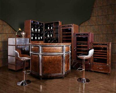 Genuine Leather and Aluminum Bar Nail Studs Cabinet Wine Liquor Storage Man Cave Bars Leather Cabinet