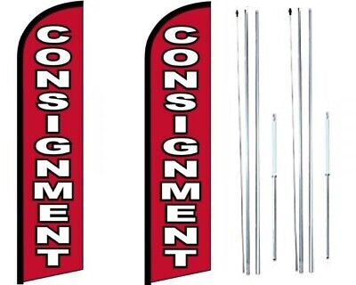 Consignment Windless Flag With Hybrid Pole Set - Pack Of 2