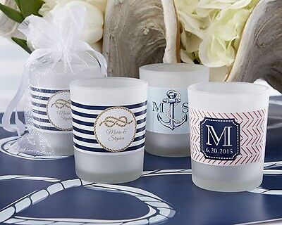 24 Personalized Nautical Theme Frosted Glass Votive Candle Wedding Favors  Frosted Votive Candle Favors