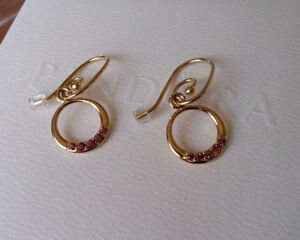 Pandora 14K Gold & Rhodolite Compose Earrings #250445RHL and pos