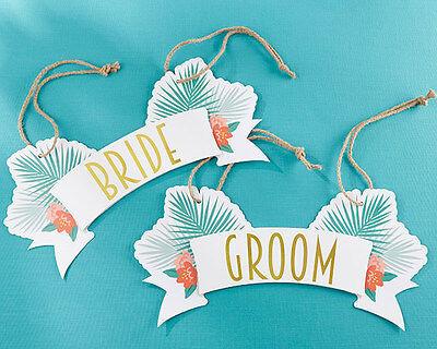 Beach Chair Decorations (Tropical Bride Groom Chair Signs Hawaii Beach Wedding Bridal Shower)