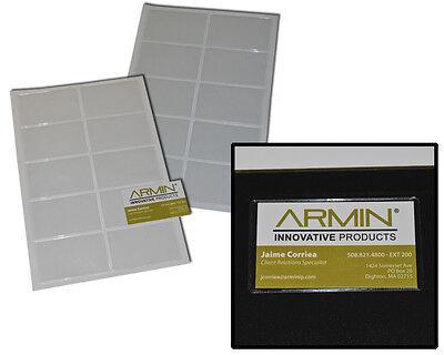 100-pack Self Adhesive Side Loading Business Card Holder - Pockets Open Short