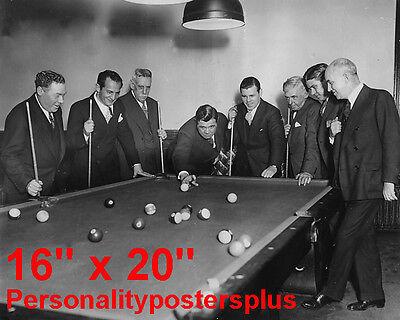 "Babe Ruth~NY Yankees~Shooting Pool~Playing Pool~Billiards~Poster~16"" x 20"" Photo"