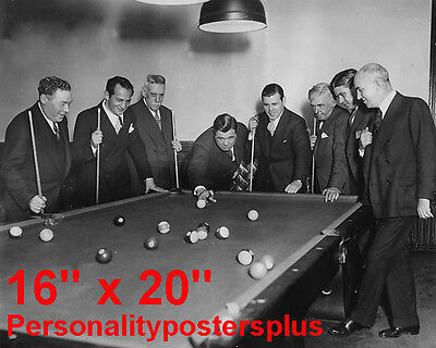 Babe Ruth~NY Yankees~Shooting Pool~Playing Pool~Billiards~Poster~16