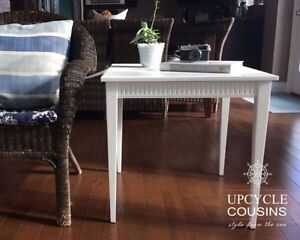 Solid wood white end table