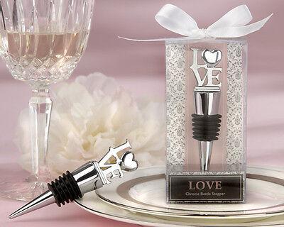 50 Love Theme Chrome Bottle Stopper Wedding Favors in Elegant Gift Box (Elegant Wedding Themes)