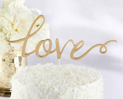 Love Gold Cake Topper Wedding Script Cake Pick Gift Elegant SHIPS FROM USA (Elegant Cake Toppers)
