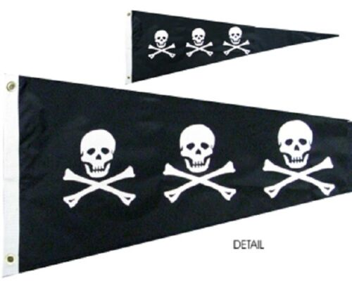 "Historic Pirate CHRISTOPHER CONDENT 12"" x 36"" Two Sided Outdoor Pennant Flag"