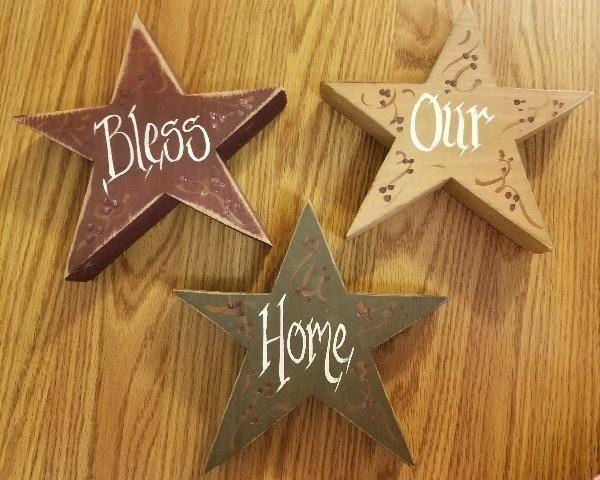 """Set of 3 Primitive Rustic Wooden 8"""" Stars Decor Bless Our Home"""