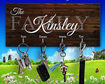 Personalized Monogrammed Key Hanger Key Holder Key Rack Key Finder New Home Gift ()