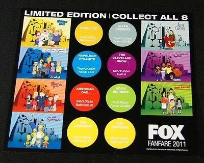 SDCC San Diego Comic Con 2011 Button / Pin Collectors card FOX FANFARE Simpsons