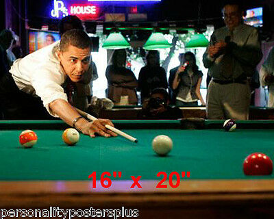 "President Obama~Playing Pool~Billiards~Shooting Pool #4~Poster~Photo~ 16"" x  20"""