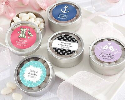 36 Personalized Round Silver Wedding Favor Tins Lot - Favor Tins