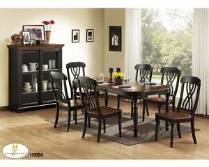 SOLID WOOD 7PC DINING SET WITH BUTTERFLY LEAF