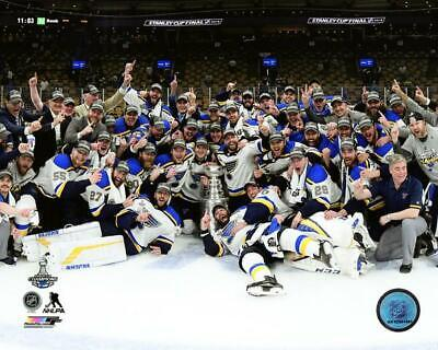 2019 St. Louis Blues Stanley Cup 16x20 Team Photo With Cup on Ice