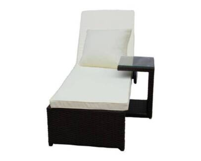 Wicker Rattan Sun Lounge Bed with Glass Top Table