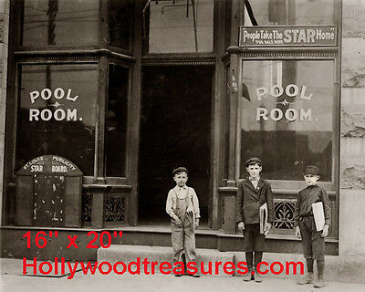 "Shooting Pool~Pool~Pool Hall~News~ Boys~Billiards~Poster~16"" x 20"" Photo"