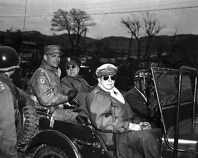 New 8x10 Korean War Photo: Douglas MacArthur and Generals Near 38th Parallel